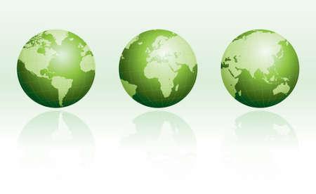 wereldbol groen: Green Globe met reflecties