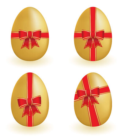 uova d oro: Uova d'oro con nastri Vettoriali