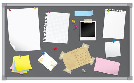 Prikbord met schrijfwaren