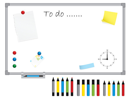 White board with stationery Vector