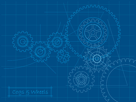 Cogs and gears blueprint Stock Vector - 4295609