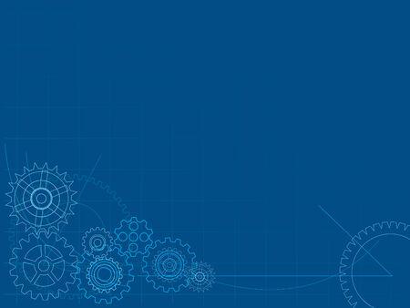 Mechanical blueprint background Illustration