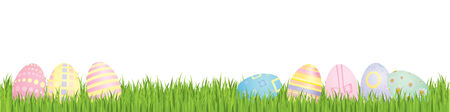 Easter eggs with spring grass Vector