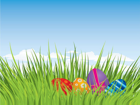 Easter eggs hiding in the grass Illustration