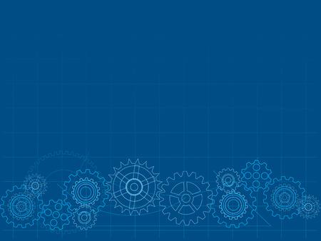 gear wheel: Blueprint cog background Illustration