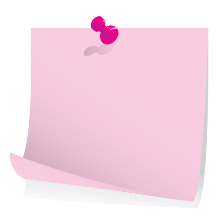 sticky paper: Post it note with push pin