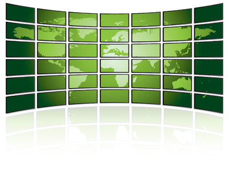 TV wall with world map Vector