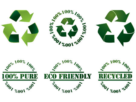 Recycle symbol and stamps