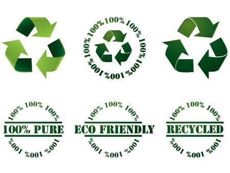 recycle: Recycle-Symbol und Briefmarken Illustration