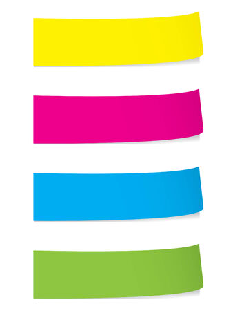 post it note: Bright post si nota sticky con ombre Vettoriali