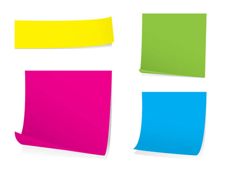 Bright post it note set with shadows Vector