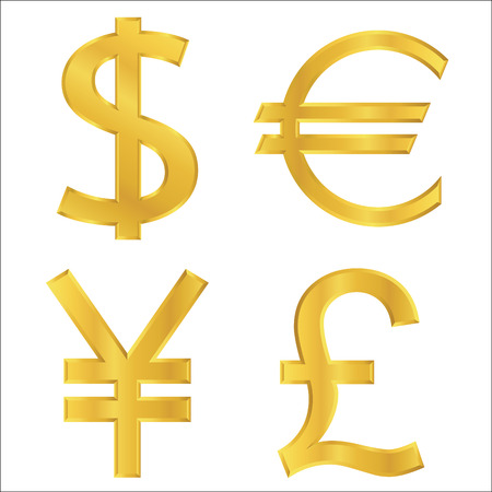 Gold currency symbols Vector
