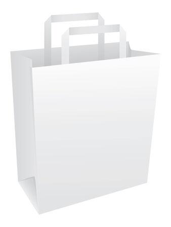 Blank white paper bag