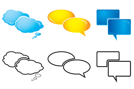 Speech bubbles, glossy and outline