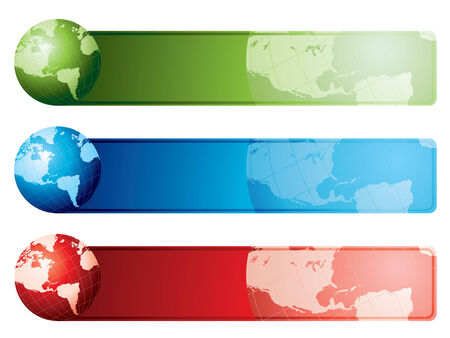 World map banners
