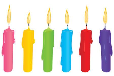 Set mit bunten Kerzen