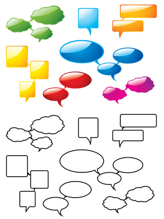 Speech bubbles, glossy and outline Vector