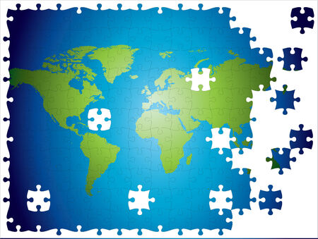 World map jigsaw, layered and fully editable. Vector
