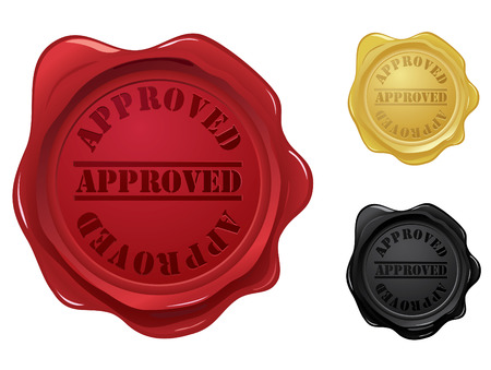 Approved wax seal stamps Illustration