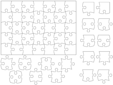 puzzle: Jigsaw puzzle and pieces.