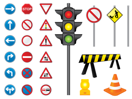 roundabout: Vector, road signs collection