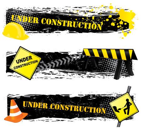 Under construction banners Illustration