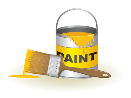 """""""paint can"""": Paint can and brush illustration"""