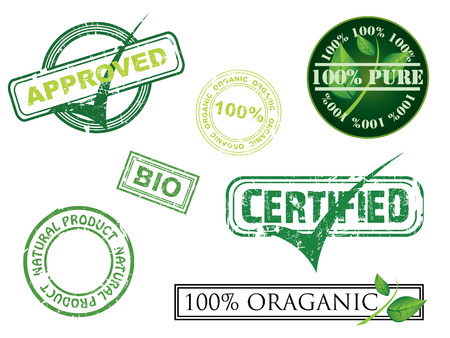 packaging industry: Ecology stamps Illustration
