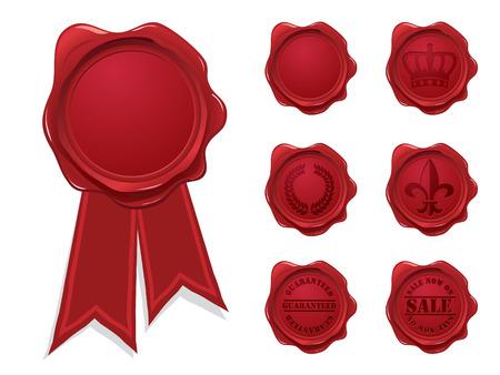 tampon cire: Collection de sceau de cire Illustration