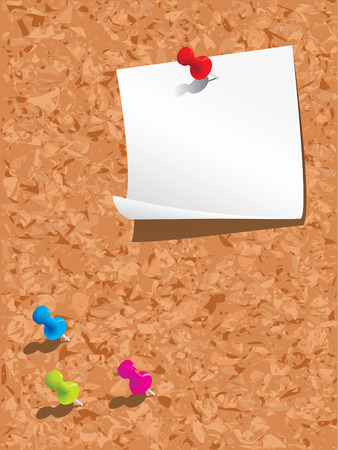 pinboard: Corkboard, paper and pins