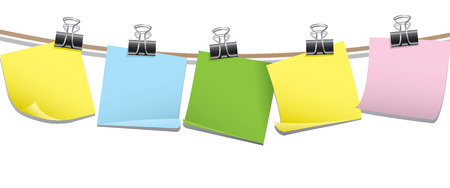 Row of blank note paper Illustration