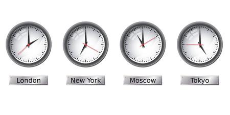 Time zone clocks Иллюстрация