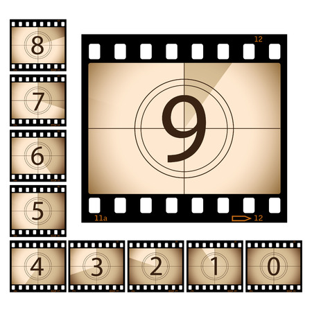 Film Countdown with seperate frames Vector