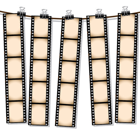 hanging out: Row of film strips hanging out to dry