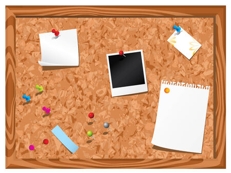 Corkboard with stationery Vector