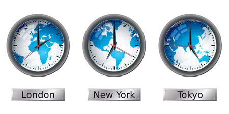 World map time zone clocks