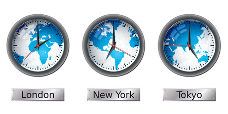 time zone: World map time zone clocks