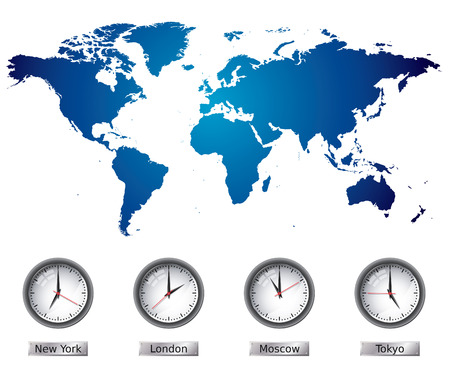 zones: World Map with time zones Illustration