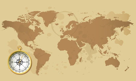 Old world map and compass Vector