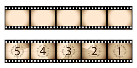 Sepia film strip and countdown Stock Vector - 6469953