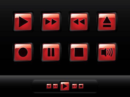 botones musica: Botones de m�sica brillante  Vectores