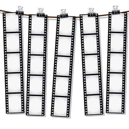 hanging out: Film strips hanging out to dry