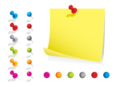 yellow tacks: Memo notes with pins Illustration
