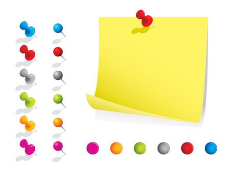 pushpins: Notas de la nota con pernos Vectores