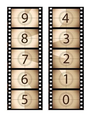 esporre: Conto alla rovescia seppia film verticale Vettoriali