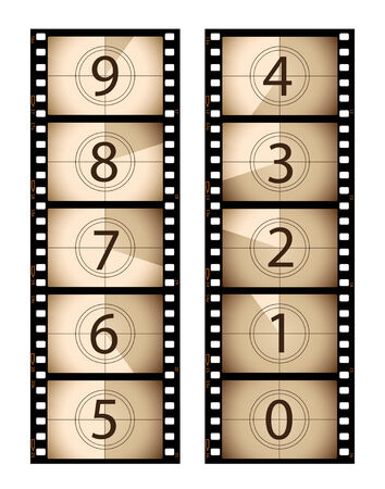 oldies: Sepia vertical film countdown Illustration