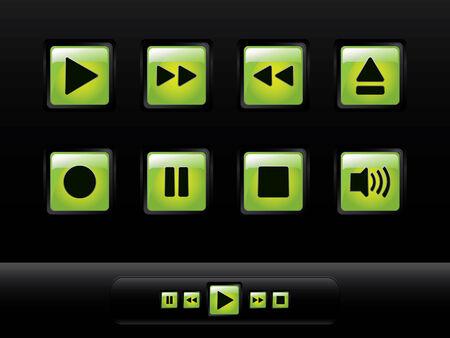 botones musica: Botones de m�sica brillante verde