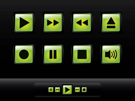 glowing skin: Green glossy music buttons Illustration