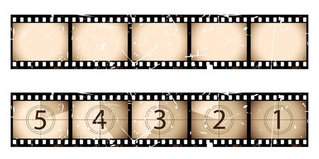 Sepia film strip and countdown Vector