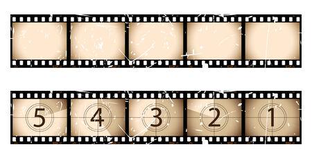 cinema old: Striscia di pellicola seppia e conto alla rovescia